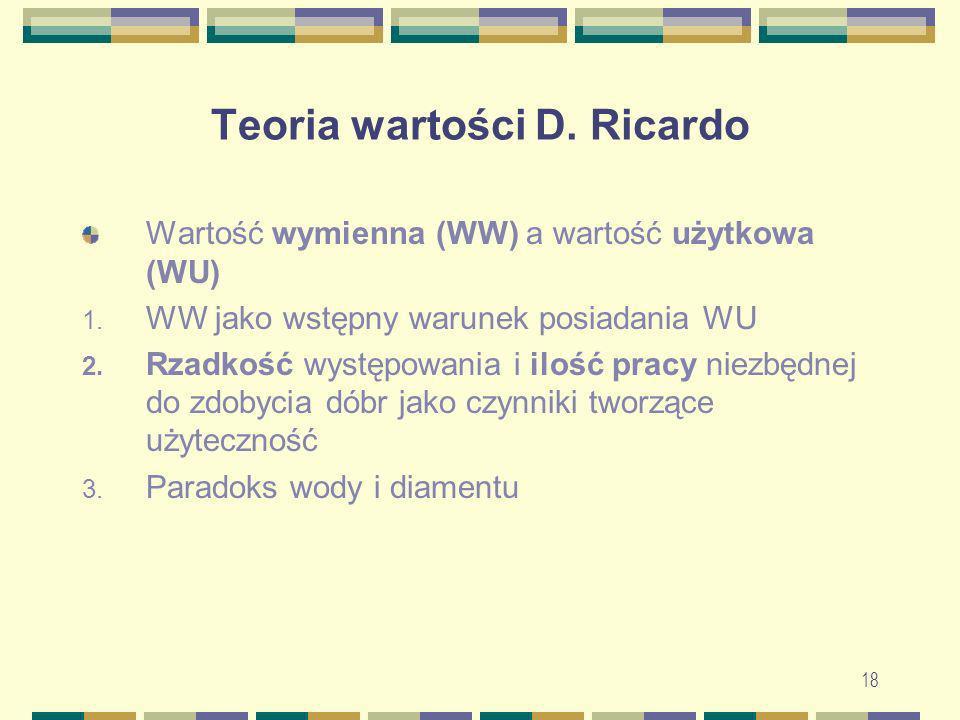 18 Teoria wartości D. Ricardo Wartość wymienna (WW) a wartość użytkowa (WU) 1. WW jako wstępny warunek posiadania WU 2. Rzadkość występowania i ilość