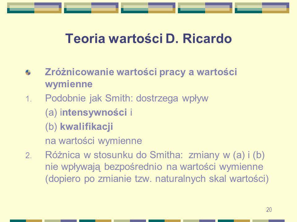 20 Teoria wartości D. Ricardo Zróżnicowanie wartości pracy a wartości wymienne 1. Podobnie jak Smith: dostrzega wpływ (a) intensywności i (b) kwalifik