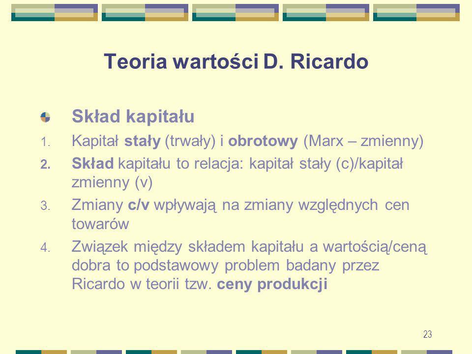 23 Teoria wartości D. Ricardo Skład kapitału 1. Kapitał stały (trwały) i obrotowy (Marx – zmienny) 2. Skład kapitału to relacja: kapitał stały (c)/kap