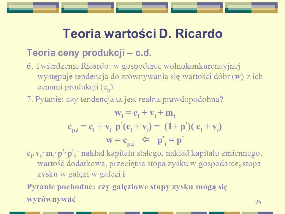 25 Teoria wartości D. Ricardo Teoria ceny produkcji – c.d. 6. Twierdzenie Ricardo: w gospodarce wolnokonkurencyjnej występuje tendencja do zrównywania