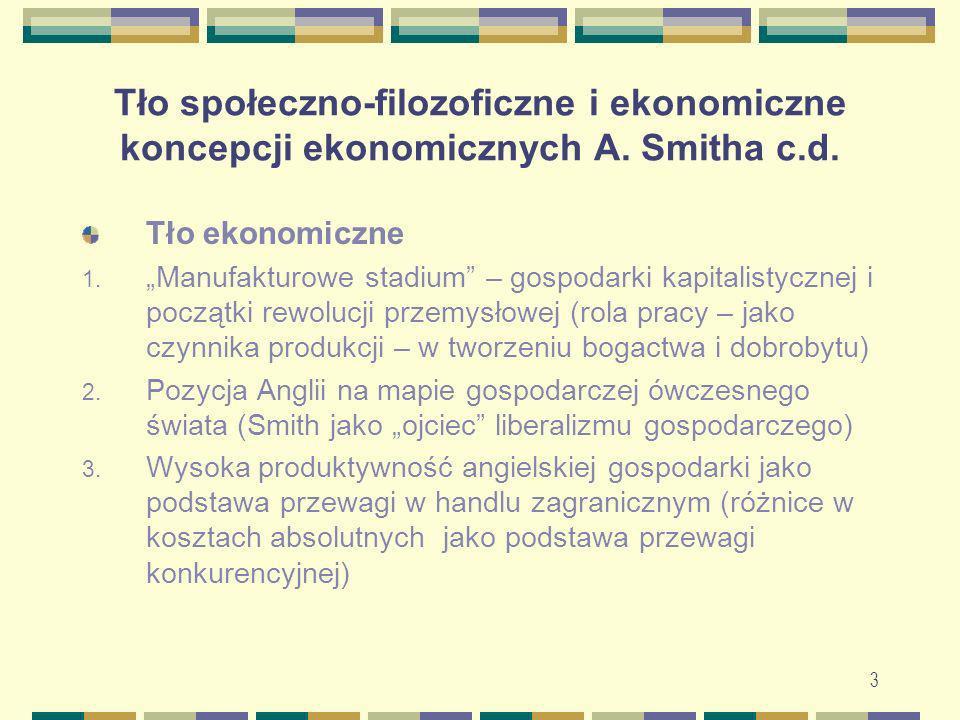 3 Tło społeczno-filozoficzne i ekonomiczne koncepcji ekonomicznych A. Smitha c.d. Tło ekonomiczne 1. Manufakturowe stadium – gospodarki kapitalistyczn