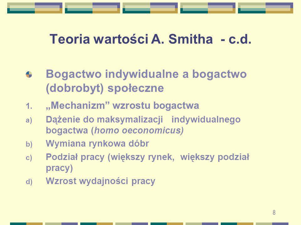 8 Teoria wartości A. Smitha - c.d. Bogactwo indywidualne a bogactwo (dobrobyt) społeczne 1. Mechanizm wzrostu bogactwa a) Dążenie do maksymalizacji in
