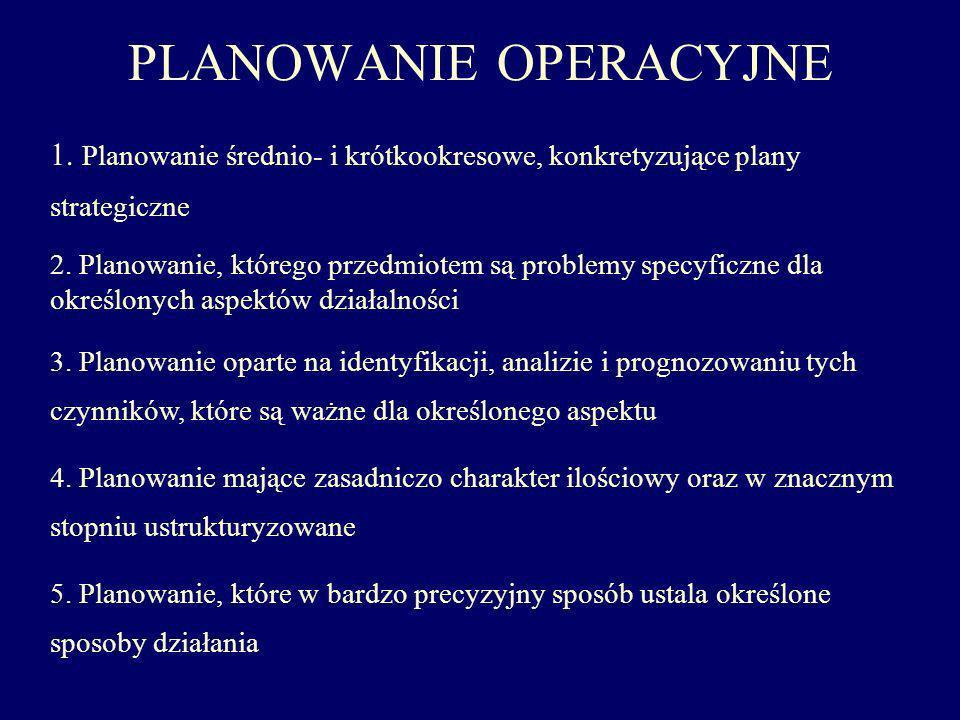 PLANOWANIE OPERACYJNE 1. Planowanie średnio- i krótkookresowe, konkretyzujące plany strategiczne 2. Planowanie, którego przedmiotem są problemy specyf