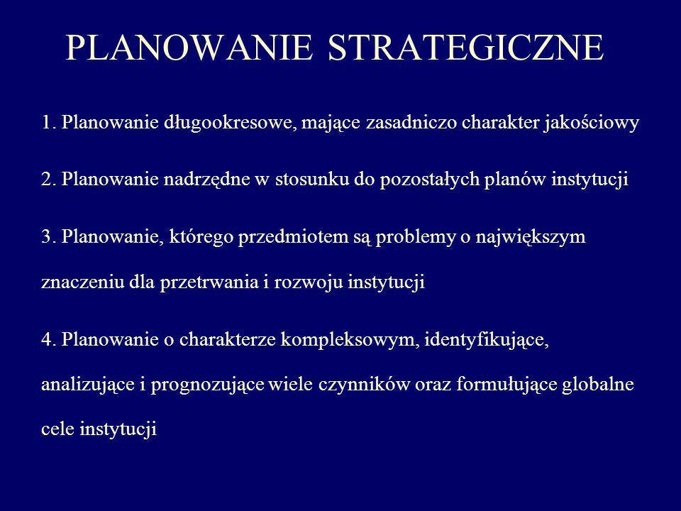 PLANOWANIE STRATEGICZNE 1. Planowanie długookresowe, mające zasadniczo charakter jakościowy 2. Planowanie nadrzędne w stosunku do pozostałych planów i