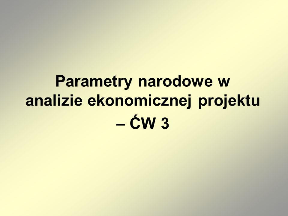 Parametry narodowe w analizie ekonomicznej projektu – ĆW 3
