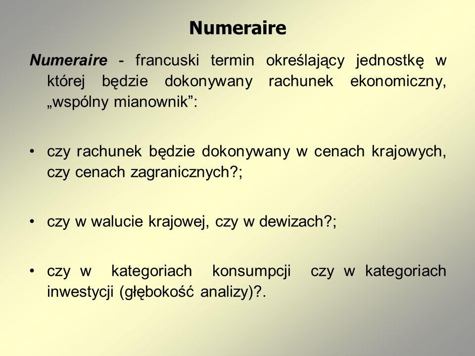 Numeraire Numeraire - francuski termin określający jednostkę w której będzie dokonywany rachunek ekonomiczny, wspólny mianownik: czy rachunek będzie dokonywany w cenach krajowych, czy cenach zagranicznych ; czy w walucie krajowej, czy w dewizach ; czy w kategoriach konsumpcji czy w kategoriach inwestycji (głębokość analizy) .