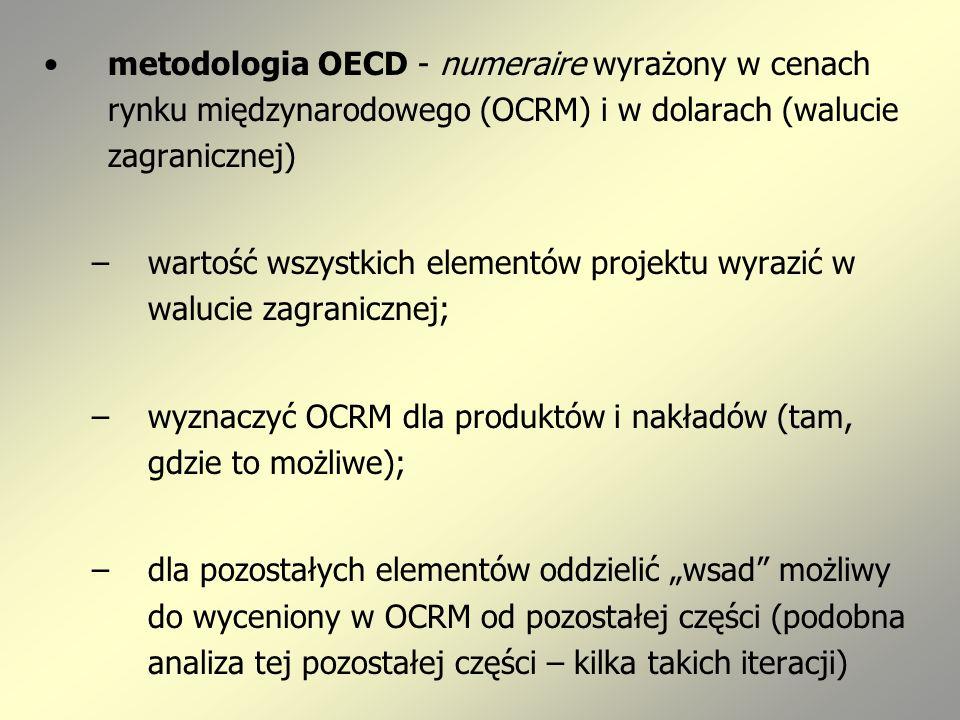 metodologia OECD - numeraire wyrażony w cenach rynku międzynarodowego (OCRM) i w dolarach (walucie zagranicznej) –wartość wszystkich elementów projektu wyrazić w walucie zagranicznej; –wyznaczyć OCRM dla produktów i nakładów (tam, gdzie to możliwe); –dla pozostałych elementów oddzielić wsad możliwy do wyceniony w OCRM od pozostałej części (podobna analiza tej pozostałej części – kilka takich iteracji)