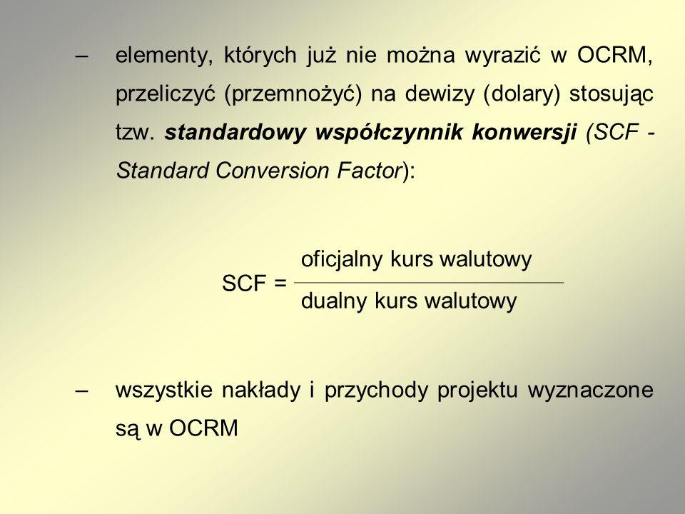 –elementy, których już nie można wyrazić w OCRM, przeliczyć (przemnożyć) na dewizy (dolary) stosując tzw.