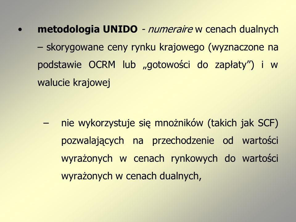 metodologia UNIDO - numeraire w cenach dualnych – skorygowane ceny rynku krajowego (wyznaczone na podstawie OCRM lub gotowości do zapłaty) i w walucie krajowej –nie wykorzystuje się mnożników (takich jak SCF) pozwalających na przechodzenie od wartości wyrażonych w cenach rynkowych do wartości wyrażonych w cenach dualnych,