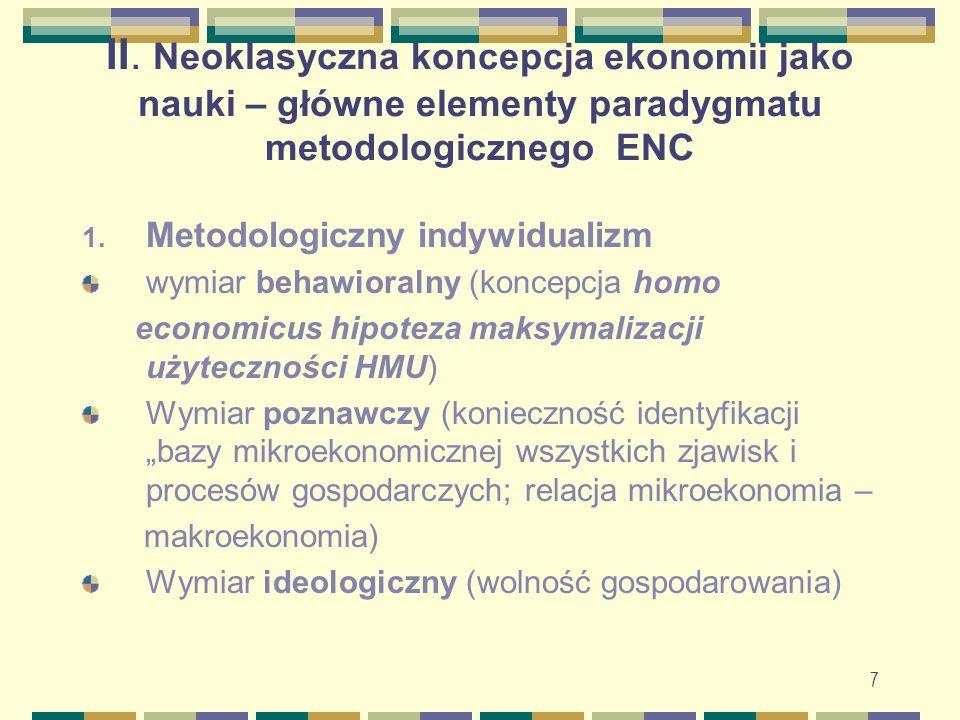 8 II.Neoklasyczna koncepcja ekonomii c.d. 1. Metodologiczny indywidualizm – c.d.