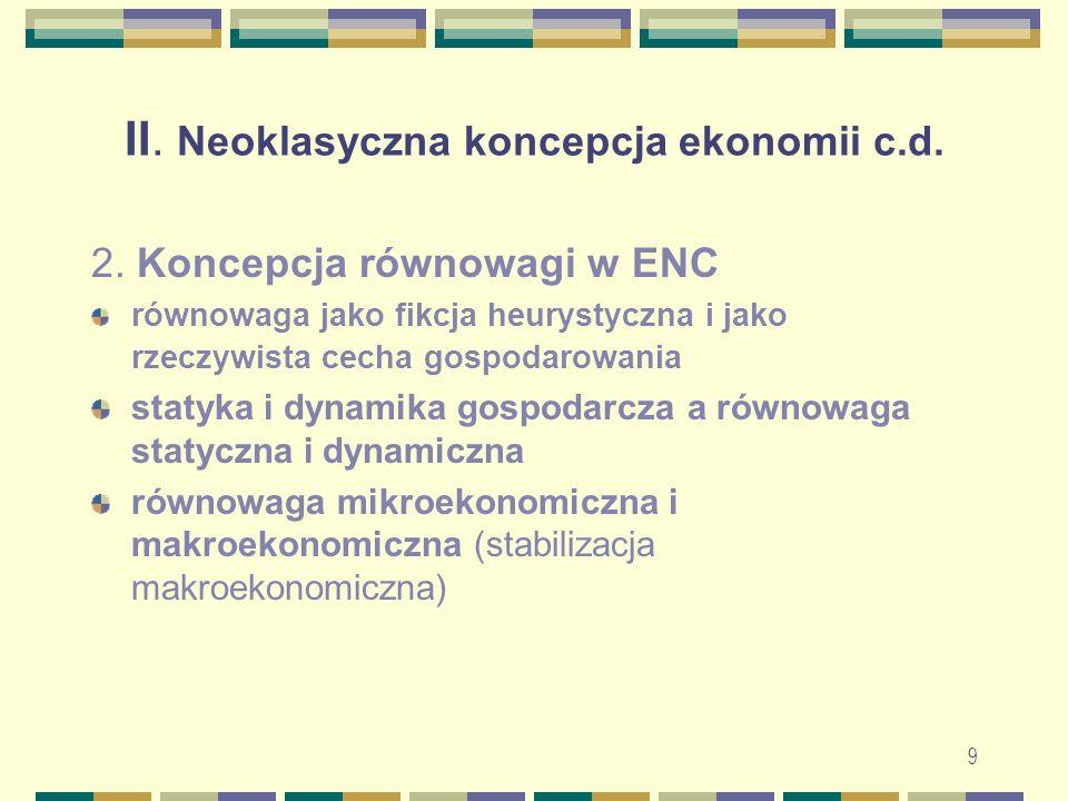 10 II.Neoklasyczna koncepcja ekonomii c.d. 2. Koncepcja równowagi w ENC – c.d.