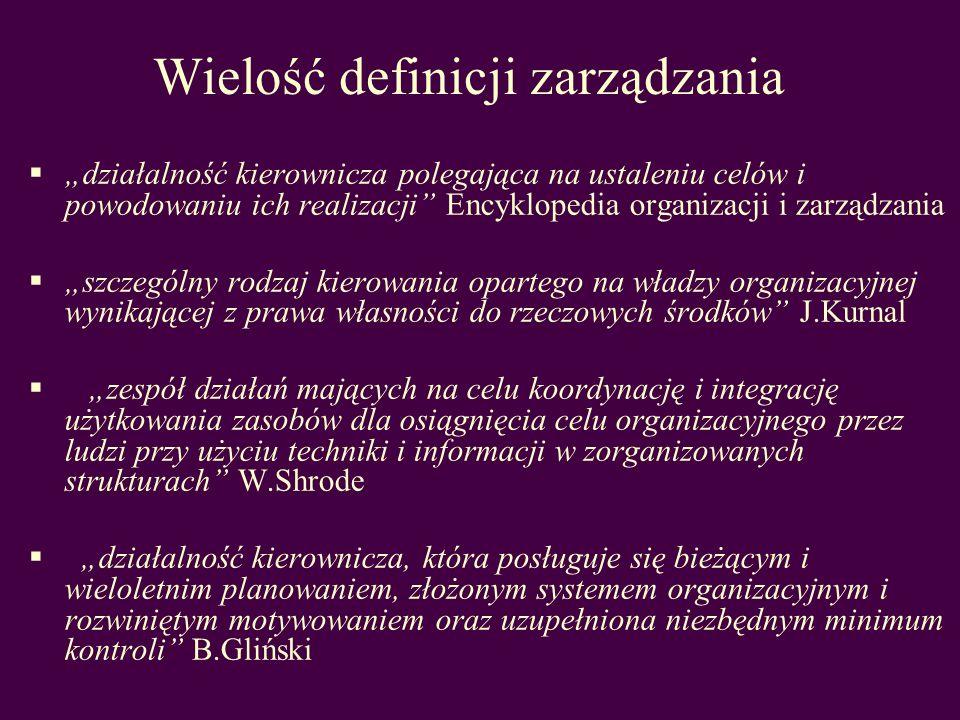 działalność kierownicza polegająca na ustaleniu celów i powodowaniu ich realizacji Encyklopedia organizacji i zarządzania szczególny rodzaj kierowania