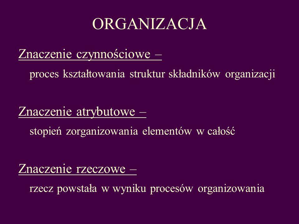 ORGANIZACJA Znaczenie czynnościowe – proces kształtowania struktur składników organizacji Znaczenie atrybutowe – stopień zorganizowania elementów w ca