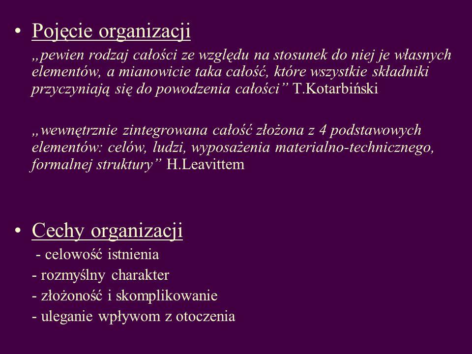 Pojęcie organizacji pewien rodzaj całości ze względu na stosunek do niej je własnych elementów, a mianowicie taka całość, które wszystkie składniki pr