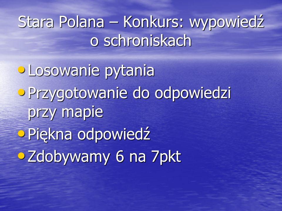 Stara Polana – Konkurs: wypowiedź o schroniskach Losowanie pytania Losowanie pytania Przygotowanie do odpowiedzi przy mapie Przygotowanie do odpowiedz