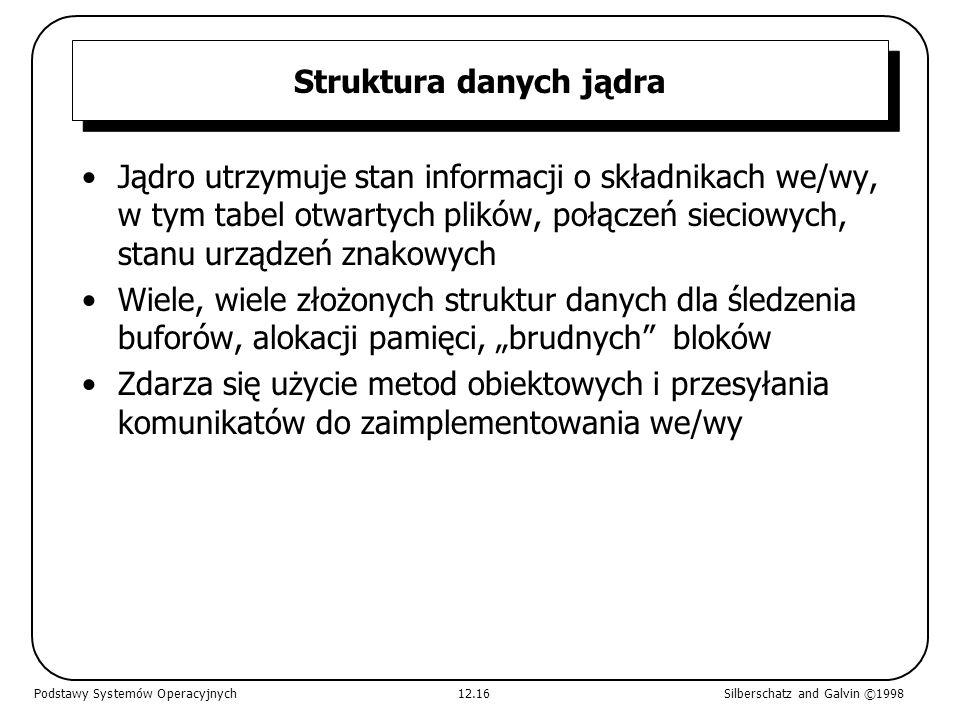 Struktura danych jądra Jądro utrzymuje stan informacji o składnikach we/wy, w tym tabel otwartych plików, połączeń sieciowych, stanu urządzeń znakowyc