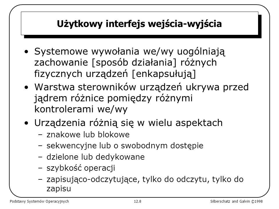 Użytkowy interfejs wejścia-wyjścia Systemowe wywołania we/wy uogólniają zachowanie [sposób działania] różnych fizycznych urządzeń [enkapsułują] Warstw
