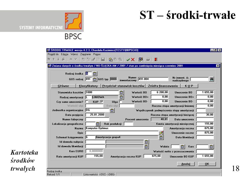 18 ST – środki-trwałe Kartoteka środków trwałych