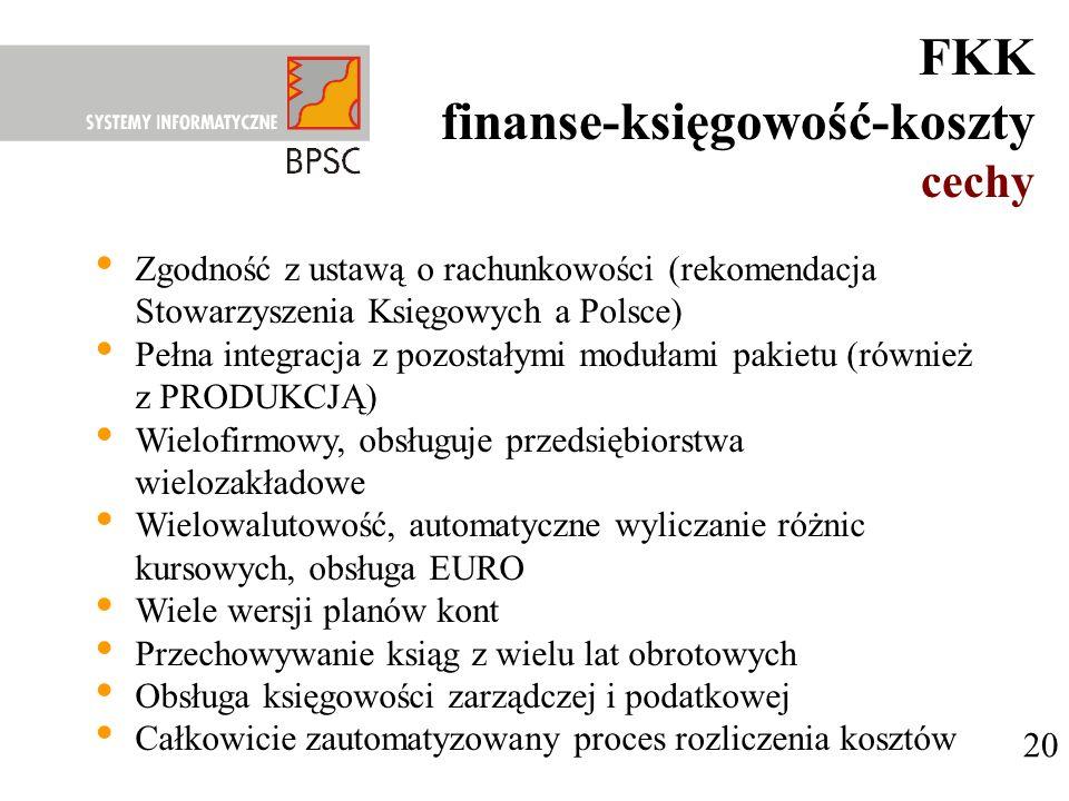 20 FKK finanse-księgowość-koszty cechy Zgodność z ustawą o rachunkowości (rekomendacja Stowarzyszenia Księgowych a Polsce) Pełna integracja z pozostał