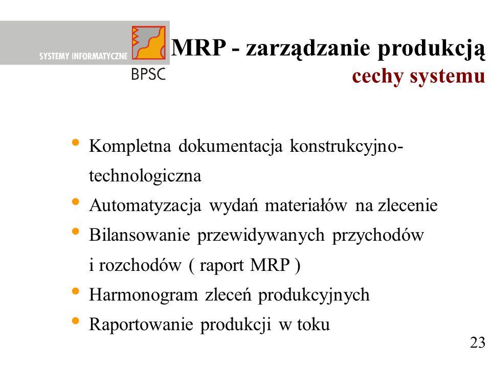23 MRP - zarządzanie produkcją cechy systemu Kompletna dokumentacja konstrukcyjno- technologiczna Automatyzacja wydań materiałów na zlecenie Bilansowa