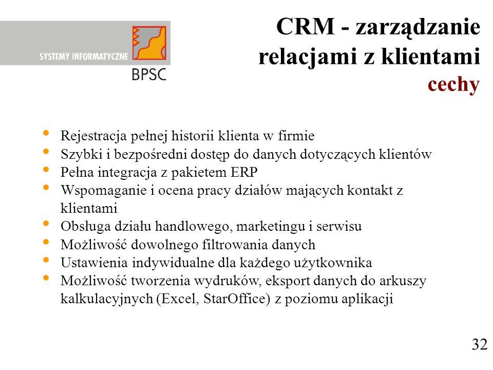 CRM - zarządzanie relacjami z klientami cechy 32 Rejestracja pełnej historii klienta w firmie Szybki i bezpośredni dostęp do danych dotyczących klient