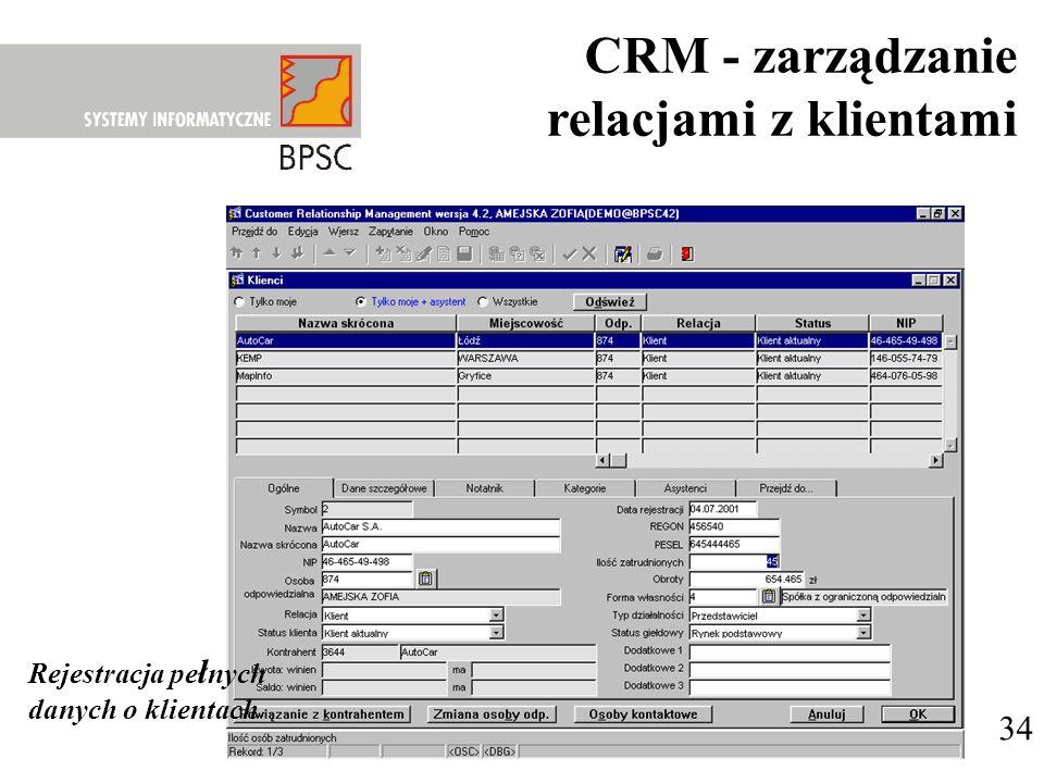 34 Rejestracja pe ł nych danych o klientach CRM - zarządzanie relacjami z klientami