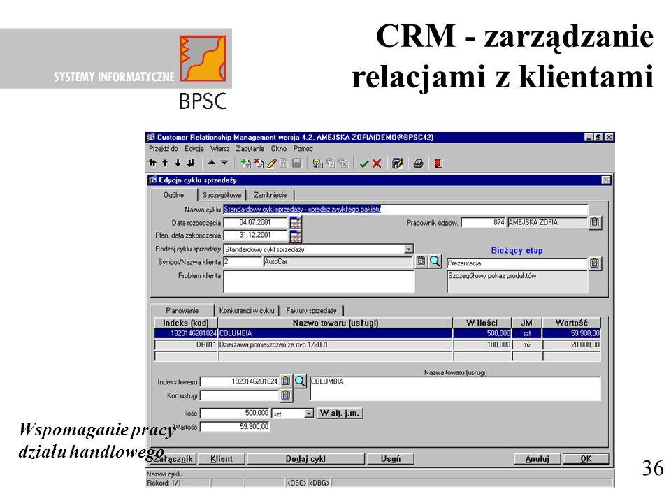 36 Wspomaganie pracy działu handlowego CRM - zarządzanie relacjami z klientami
