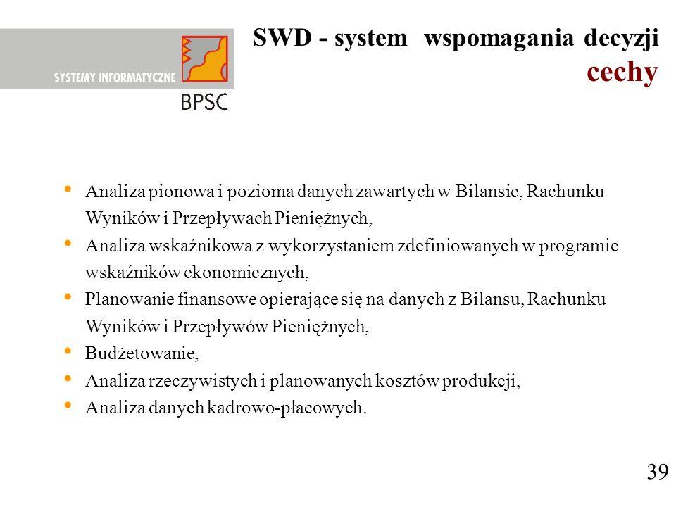 SWD - system wspomagania decyzji cechy 39 Analiza pionowa i pozioma danych zawartych w Bilansie, Rachunku Wyników i Przepływach Pieniężnych, Analiza w