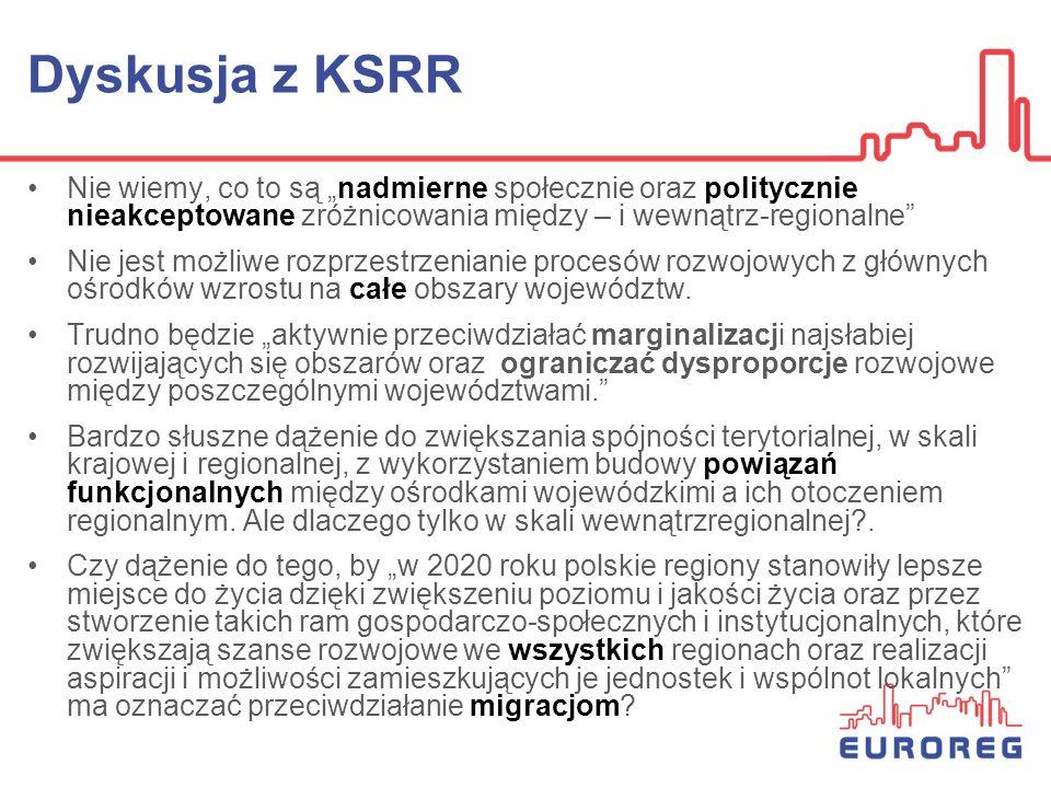 Dyskusja z KSRR Nie wiemy, co to są nadmierne społecznie oraz politycznie nieakceptowane zróżnicowania między – i wewnątrz-regionalne Nie jest możliwe