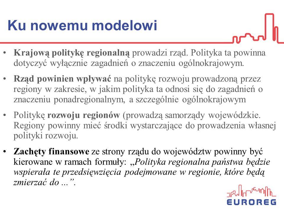 Ku nowemu modelowi Krajową politykę regionalną prowadzi rząd. Polityka ta powinna dotyczyć wyłącznie zagadnień o znaczeniu ogólnokrajowym. Rząd powini