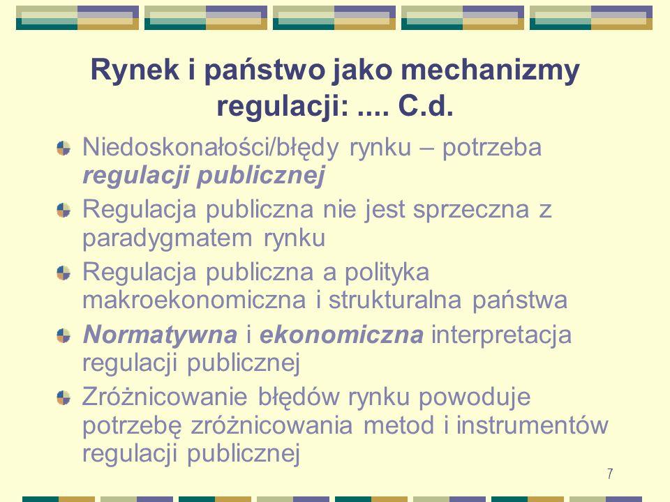 Rynek i państwo jako mechanizmy regulacji:.... C.d. Niedoskonałości/błędy rynku – potrzeba regulacji publicznej Regulacja publiczna nie jest sprzeczna