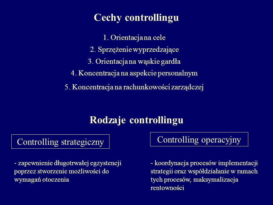 Cechy controllingu 1. Orientacja na cele 2. Sprzężenie wyprzedzające 3. Orientacja na wąskie gardła 4. Koncentracja na aspekcie personalnym 5. Koncent