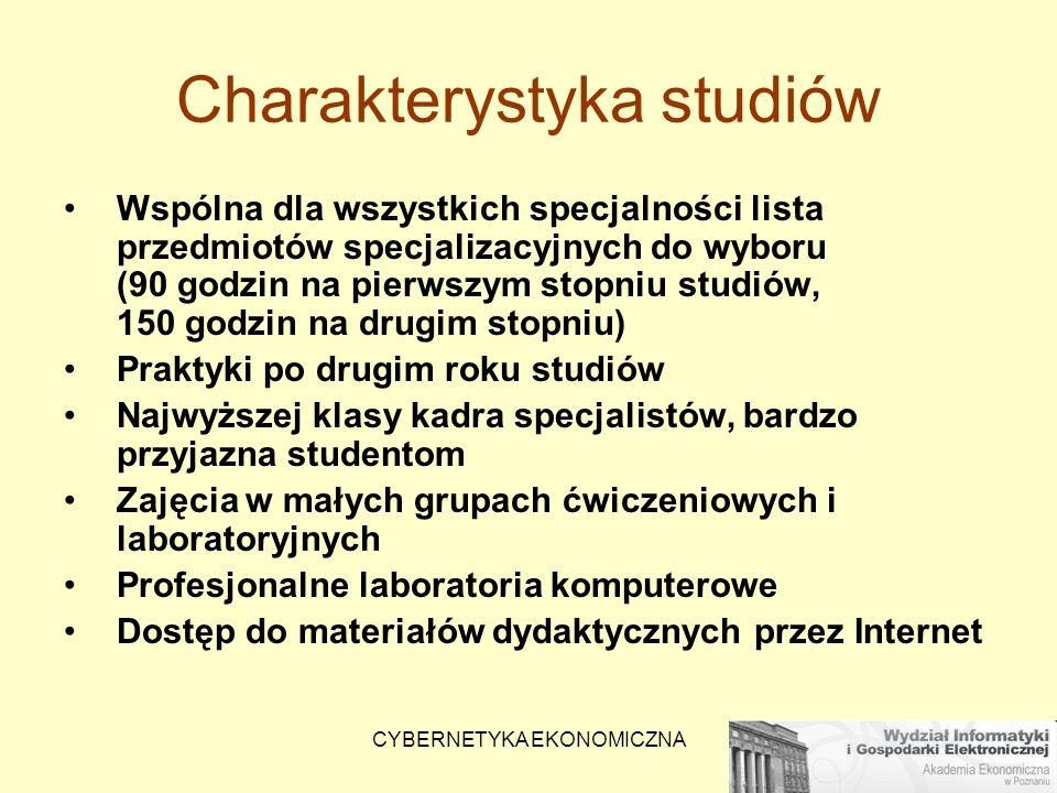 CYBERNETYKA EKONOMICZNA Charakterystyka studiów Wspólna dla wszystkich specjalności lista przedmiotów specjalizacyjnych do wyboru (90 godzin na pierws
