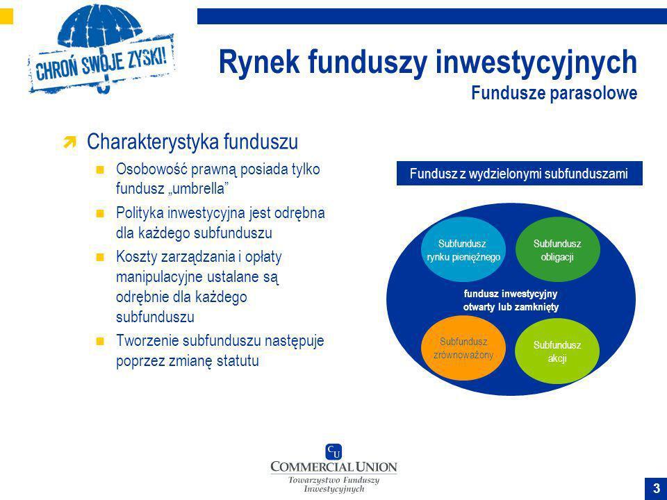 4 Rynek funduszy inwestycyjnych Fundusze parasolowe Zalety funduszu Nie pobiera się podatku od konwersji (zamiany jednostek) pomiędzy subfunduszami.