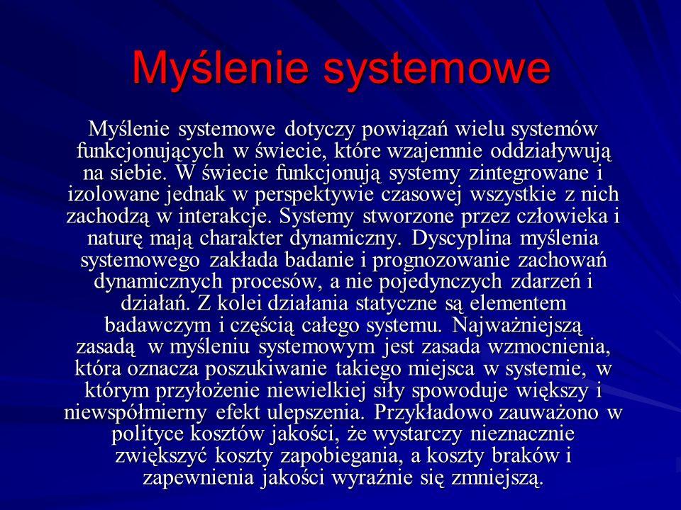 Myślenie systemowe Myślenie systemowe dotyczy powiązań wielu systemów funkcjonujących w świecie, które wzajemnie oddziaływują na siebie. W świecie fun