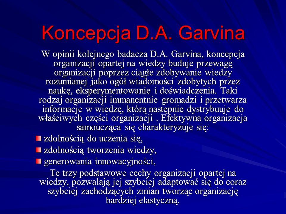 Koncepcja D.A. Garvina W opinii kolejnego badacza D.A. Garvina, koncepcja organizacji opartej na wiedzy buduje przewagę organizacji poprzez ciągłe zdo