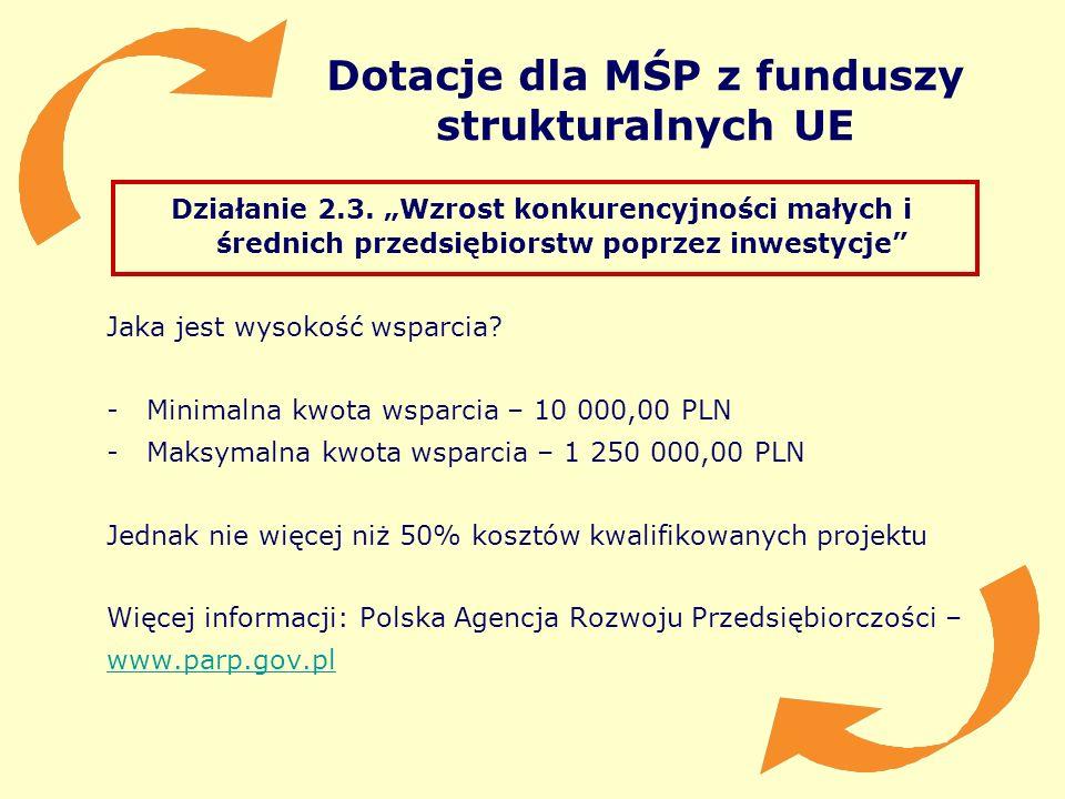 Dotacje dla MŚP z funduszy strukturalnych UE Działanie 2.3. Wzrost konkurencyjności małych i średnich przedsiębiorstw poprzez inwestycje Jaka jest wys