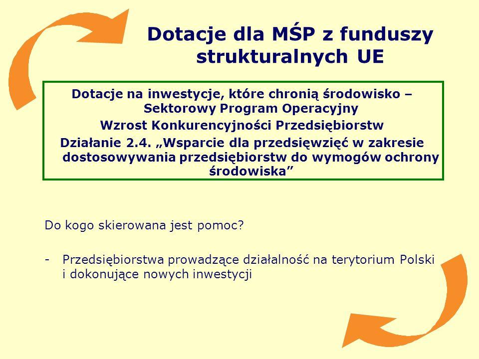 Dotacje dla MŚP z funduszy strukturalnych UE Dotacje na inwestycje, które chronią środowisko – Sektorowy Program Operacyjny Wzrost Konkurencyjności Pr