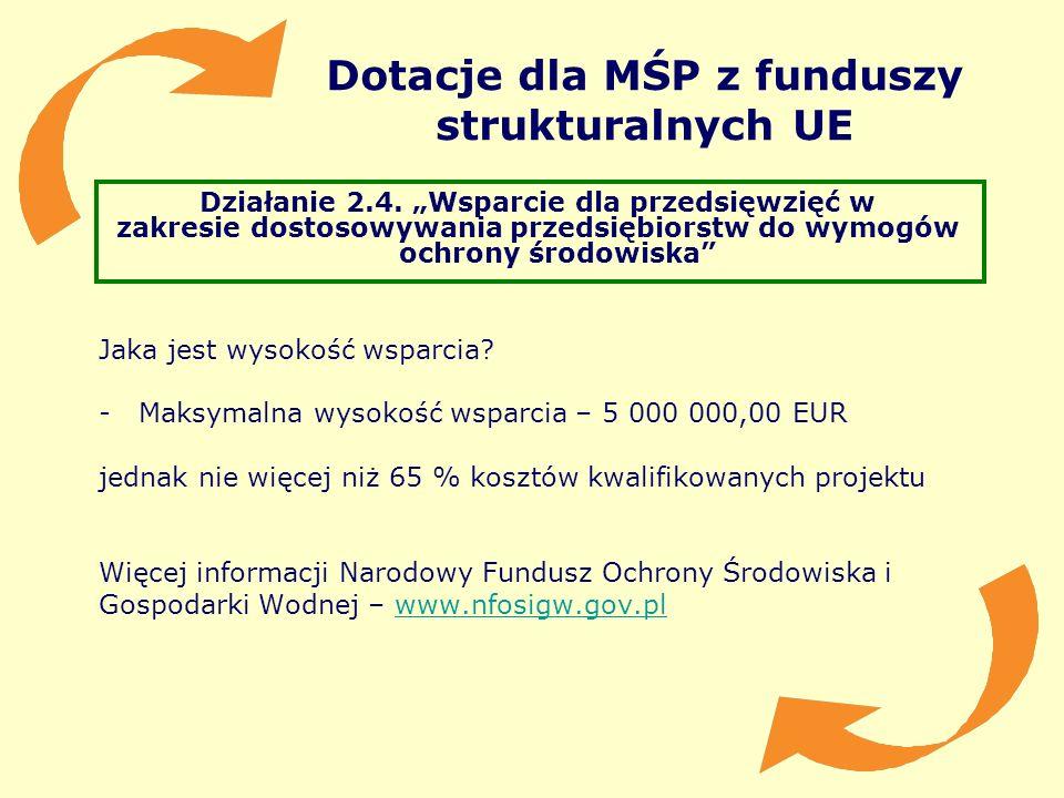 Dotacje dla MŚP z funduszy strukturalnych UE Działanie 2.4. Wsparcie dla przedsięwzięć w zakresie dostosowywania przedsiębiorstw do wymogów ochrony śr