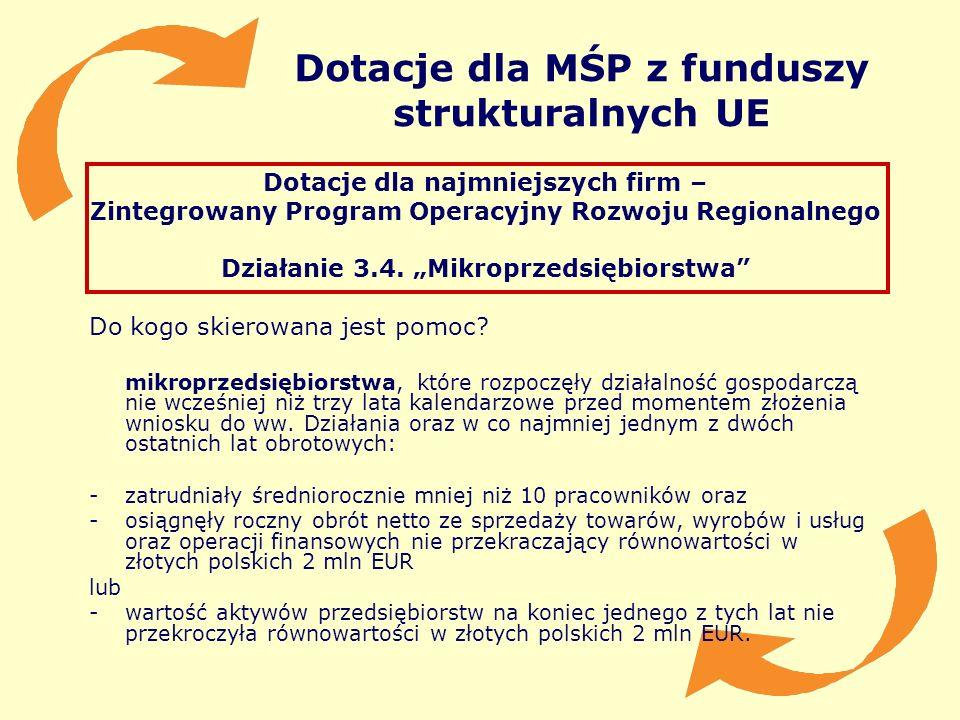 Dotacje dla MŚP z funduszy strukturalnych UE Dotacje dla najmniejszych firm – Zintegrowany Program Operacyjny Rozwoju Regionalnego Działanie 3.4. Mikr