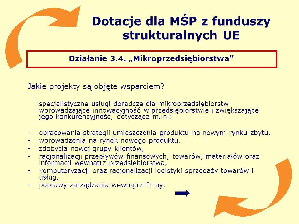 Dotacje dla MŚP z funduszy strukturalnych UE Działanie 3.4. Mikroprzedsiębiorstwa Jakie projekty są objęte wsparciem? specjalistyczne usługi doradcze