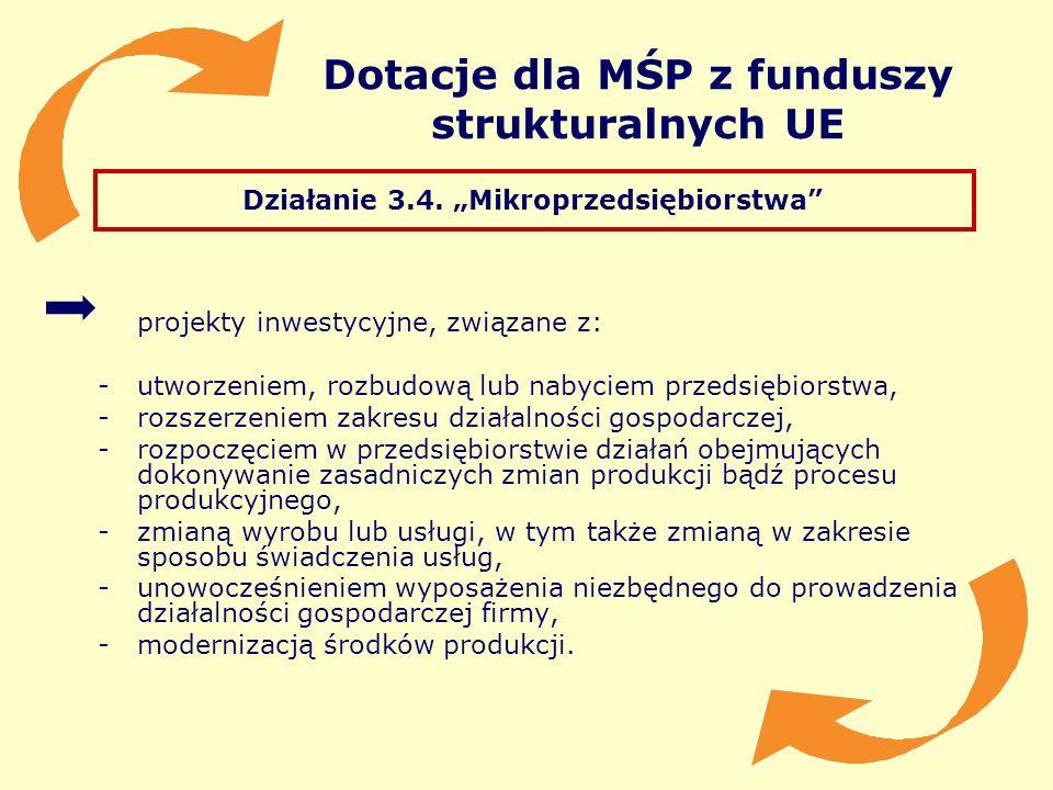 Dotacje dla MŚP z funduszy strukturalnych UE Działanie 3.4. Mikroprzedsiębiorstwa projekty inwestycyjne, związane z: -utworzeniem, rozbudową lub nabyc