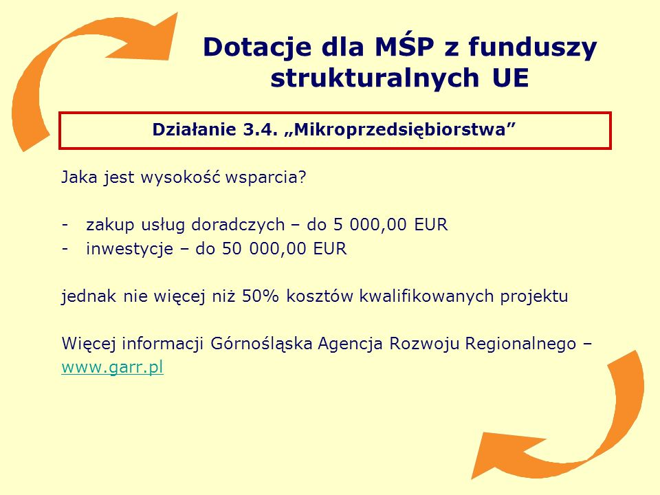 Dotacje dla MŚP z funduszy strukturalnych UE Działanie 3.4. Mikroprzedsiębiorstwa Jaka jest wysokość wsparcia? -zakup usług doradczych – do 5 000,00 E