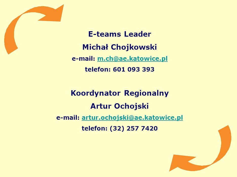 E-teams Leader Michał Chojkowski e-mail: m.ch@ae.katowice.plm.ch@ae.katowice.pl telefon: 601 093 393 Koordynator Regionalny Artur Ochojski e-mail: art
