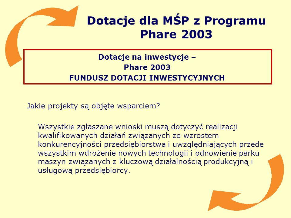 Dotacje dla MŚP z Programu Phare 2003 Dotacje na inwestycje – Phare 2003 FUNDUSZ DOTACJI INWESTYCYJNYCH Jakie projekty są objęte wsparciem? Wszystkie