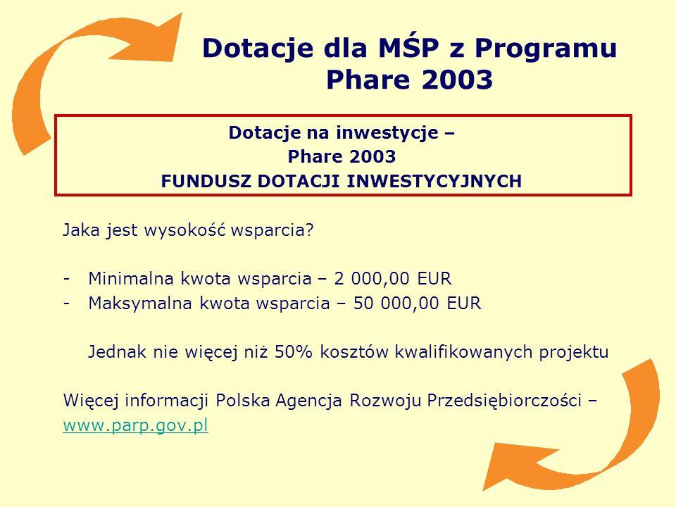 Dotacje dla MŚP z Programu Phare 2003 Dotacje na inwestycje – Phare 2003 FUNDUSZ DOTACJI INWESTYCYJNYCH Jaka jest wysokość wsparcia? -Minimalna kwota