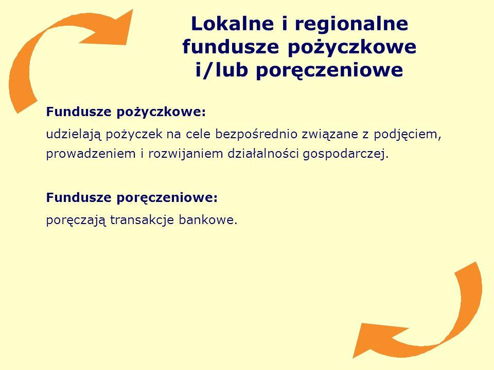 Lokalne i regionalne fundusze pożyczkowe i/lub poręczeniowe Fundusze pożyczkowe: udzielają pożyczek na cele bezpośrednio związane z podjęciem, prowadz