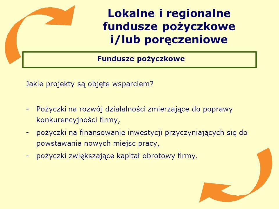 Fundusze pożyczkowe Jakie projekty są objęte wsparciem? -Pożyczki na rozwój działalności zmierzające do poprawy konkurencyjności firmy, -pożyczki na f