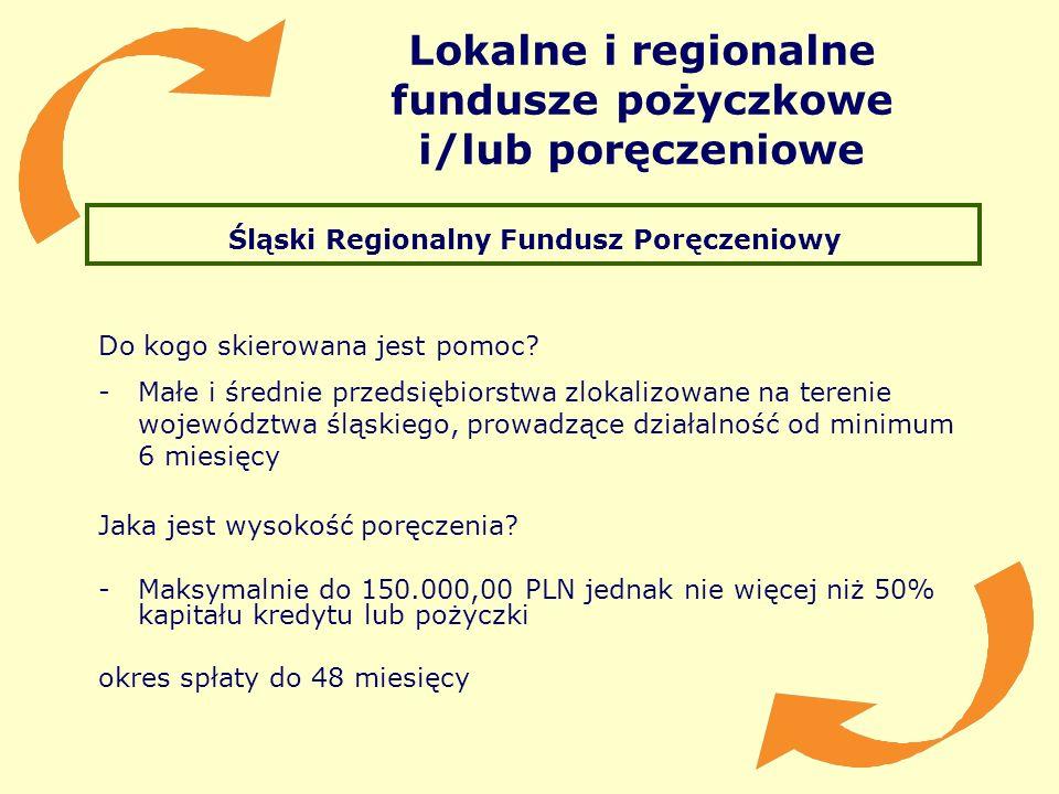 Lokalne i regionalne fundusze pożyczkowe i/lub poręczeniowe Śląski Regionalny Fundusz Poręczeniowy Do kogo skierowana jest pomoc? -Małe i średnie prze
