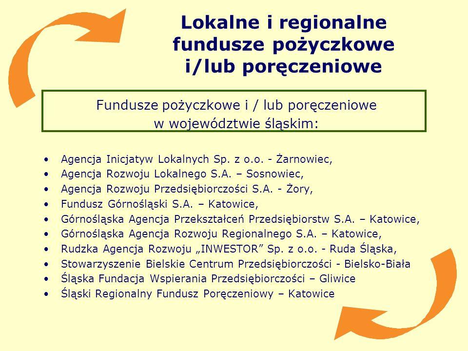 Lokalne i regionalne fundusze pożyczkowe i/lub poręczeniowe Fundusze pożyczkowe i / lub poręczeniowe w województwie śląskim: Agencja Inicjatyw Lokalny